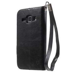 Koženkové pouzdro s kočičkou Domi na Samsung Galaxy J1 - černé - 2