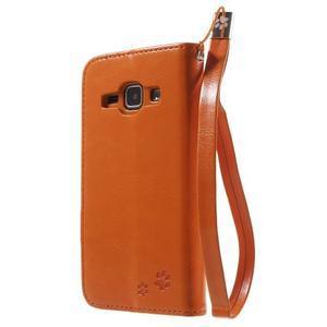 Koženkové pouzdro s kočičkou Domi na Samsung Galaxy J1 - oranžové - 2