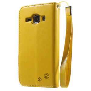 Koženkové pouzdro s kočičkou Domi na Samsung Galaxy J1 - žluté - 2