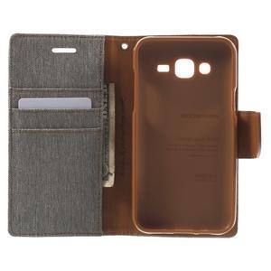 Luxury textilní/pu kožené pouzdro na Samsung Galaxy J5 - šedé - 2