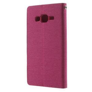 Luxury textilní/pu kožené pouzdro na Samsung Galaxy J5 - rose - 2