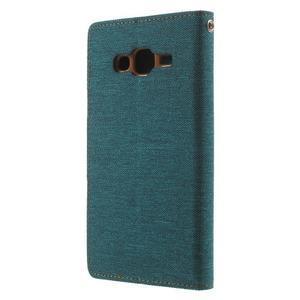 Luxury textilní/PU kožené pouzdro na Samsung Galaxy J5 - zelenomodré - 2