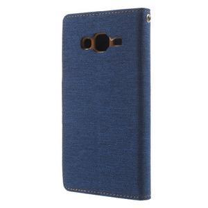 Luxury textilní/pu kožené pouzdro na Samsung Galaxy J5 - modré - 2