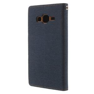 Luxury textilní/pu kožené pouzdro na Samsung Galaxy J5 - tmavěmodré - 2