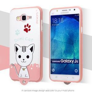 Gelový obal s kočičkou Domi s koženkovými zády na Samsung Galaxy J5 - bílý - 2