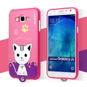 Gelový obal s kočičkou Domi s koženkovými zády na Samsung Galaxy J5 - rose - 2