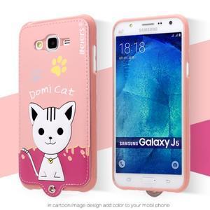 Gelový obal s kočičkou Domi s koženkovými zády na Samsung Galaxy J5 - růžové - 2