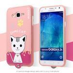 Gelový obal s kočičkou Domi s koženkovými zády na Samsung Galaxy J5 - růžové - 2/3