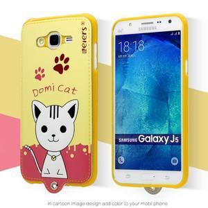Gelový obal s kočičkou Domi s koženkovými zády na Samsung Galaxy J5 - žluté - 2