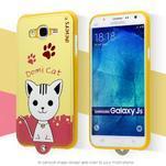 Gelový obal s kočičkou Domi s koženkovými zády na Samsung Galaxy J5 - žluté - 2/3