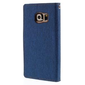 Luxury textilní/koženkové pouzdro pro Samsung Galaxy S6 Edge - modré - 2