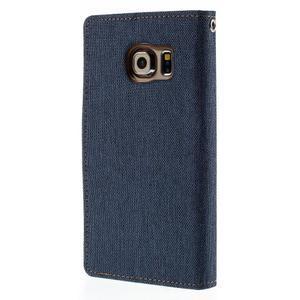 Luxury textilní/koženkové pouzdro pro Samsung Galaxy S6 Edge - jeans - 2