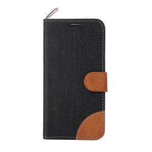 Jeans textilní/pu kožené pouzdro na Samsung Galaxy S6 Edge - černé - 2