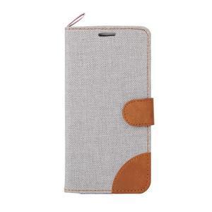 Jeans textilní/pu kožené pouzdro na Samsung Galaxy S6 Edge - šedé - 2