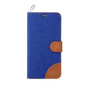 Jeans textilní/pu kožené pouzdro na Samsung Galaxy S6 Edge - modré - 2