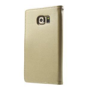 Wallet PU kožené pouzdro na Samsung Galaxy S6 Edge G925 - champagne - 2