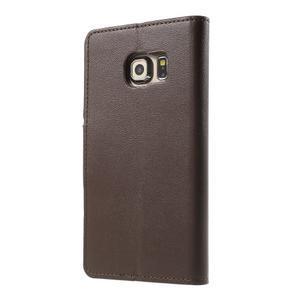 Wallet PU kožené pouzdro na Samsung Galaxy S6 Edge G925 - tmavěhnědé - 2