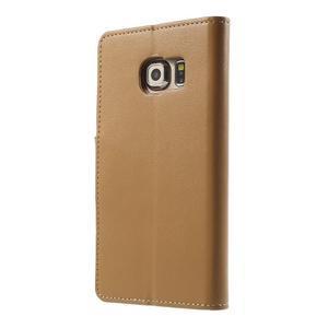 Wallet PU kožené pouzdro na Samsung Galaxy S6 Edge G925 - hnědé - 2