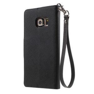 Diary PU kožené pouzdro na Samsung Galaxy S6 Edge - černé - 2