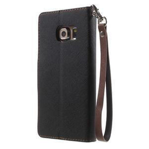 Diary PU kožené pouzdro na Samsung Galaxy S6 Edge - černé/hnědé - 2
