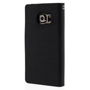 Luxury textilní/koženkové pouzdro pro Samsung Galaxy S6 Edge - černé - 2