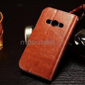Koženkové peněženkové pouzdro na Samsung Galaxy Xcover 3 - hnědé - 2