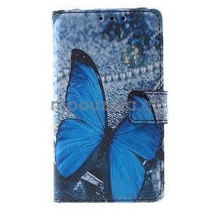 Stylové peněženkové pouzdro pro Samsung Galaxy Xcover 3 - modrý motýl - 2
