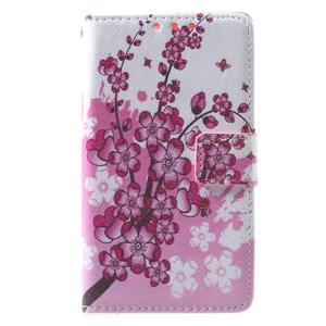 Stylové peněženkové pouzdro pro Samsung Galaxy Xcover 3 - kvetoucí větvička - 2