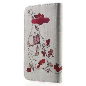 Vzorové peněženkové pouzdro na Samsung Galaxy Xcover 3 - červené květy - 2