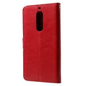 Standy PU kožené knížkové pouzdro na Nokia 5 - červené - 2