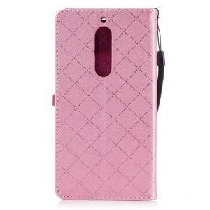 Hearts PU kožené pouzdro na Nokia 5 - růžové - 2