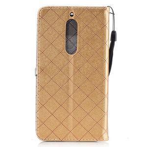 Hearts PU kožené pouzdro na Nokia 5 - zlaté - 2