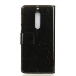 Crazy PU kožené zapínací pouzdro na Nokia 5 - černé - 2
