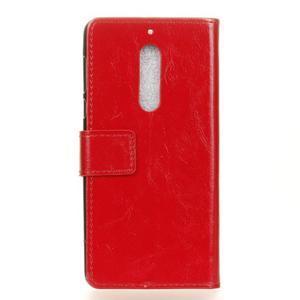Crazy PU kožené zapínací pouzdro na Nokia 5 - červené - 2