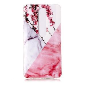 Marble silikonový kryt na mobil Nokia 6.1 - růžový květ - 2
