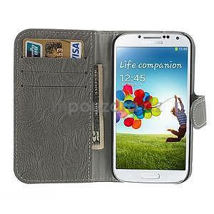 PU kožené peněženkové pouzdro na Samsung Galaxy S4 - šedé - 2