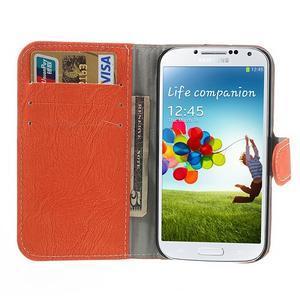 PU kožené peněženkové pouzdro na Samsung Galaxy S4 - oranžové - 2