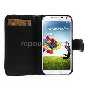 PU kožené peněženkové pouzdro s hadím motivem na Samsung Galaxy S4 - černé - 2