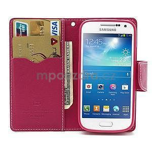 PU kožené peněženkové pouzdro na Samsung Galaxy S4 mini - růžové - 2