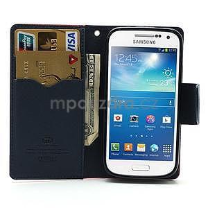 PU kožené peněženkové pouzdro na Samsung Galaxy S4 mini - rose - 2