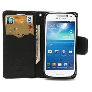PU kožené peněženkové pouzdro na Samsung Galaxy S4 mini - černé - 2