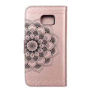 Mandala PU kožené pouzdro na Samsung Galaxy S7 Edge - růžovozlaté - 2