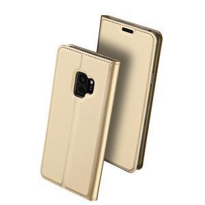DUX Luxury PU kožené pouzdro na Samsung Galaxy S9 - zlaté - 2