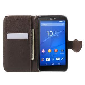 PU kožené lístkové pouzdro pro Sony Xperia E4 - černé - 2