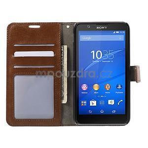 PU kožené peněženkové pouzdro na mobil Sony Xperia E4 - hnědé - 2