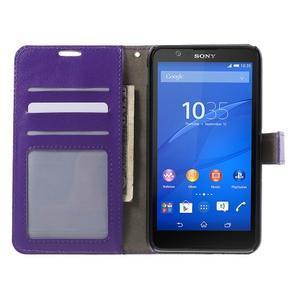 PU kožené peněženkové pouzdro na mobil Sony Xperia E4 - fialové - 2