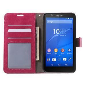 PU kožené peněženkové pouzdro na mobil Sony Xperia E4 - rose - 2