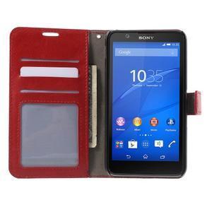 PU kožené peněženkové pouzdro na mobil Sony Xperia E4 - červené - 2