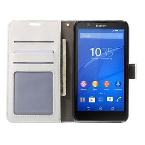 PU kožené peněženkové pouzdro na mobil Sony Xperia E4 - bílé - 2
