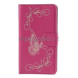 Peněženkové pouzdro s motýlkem na Sony Xperia E4 - rose - 2